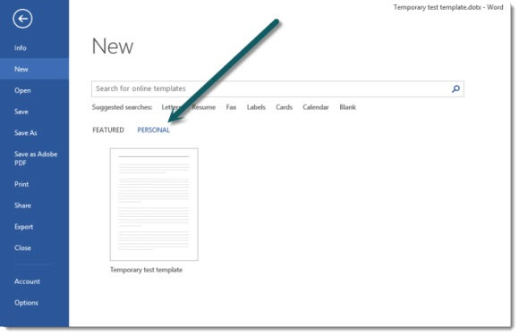 Office - Word 2013 custom templates
