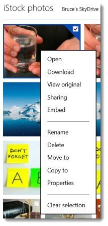 Skydrive - right-click context menu