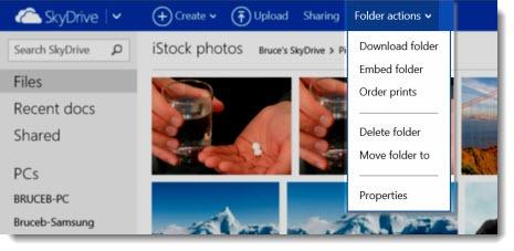 Skydrive - download folder