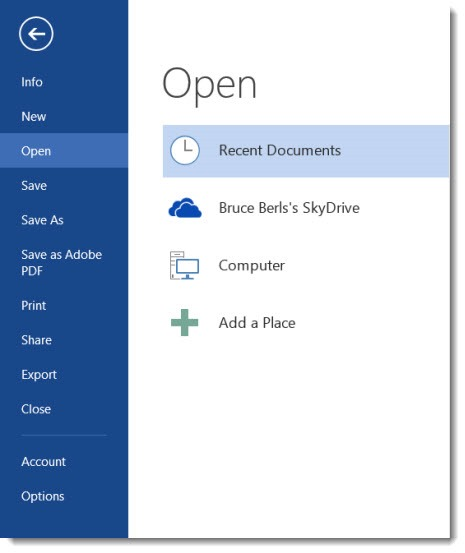 Skydrive - integration with Office 2013