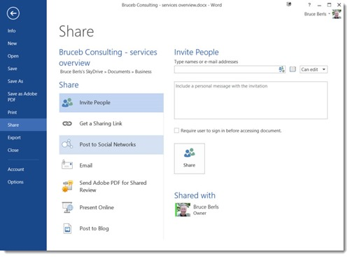 Office 2013 - share to Skydrive