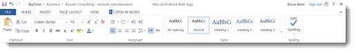 Office Web App ribbon
