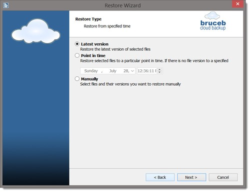 Bruceb Cloud Backup - restore wizard