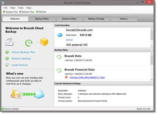 Bruceb Cloud Backup - welcome screen