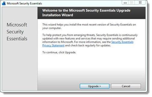 Security Essentials - upgrade wizard