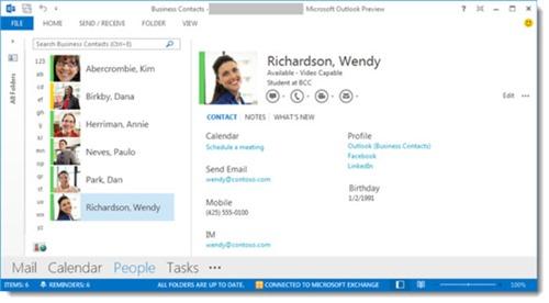 Outlook 2013 - People pane