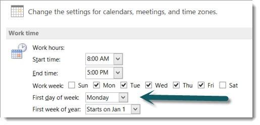 Outlook - calendar options