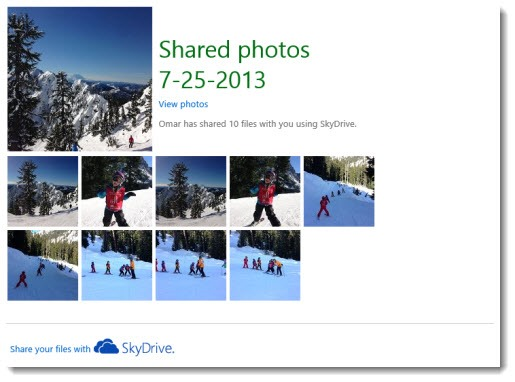Skydrive - photo sharing email