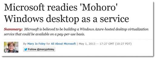 Microsoft Mohoro - hosted desktops