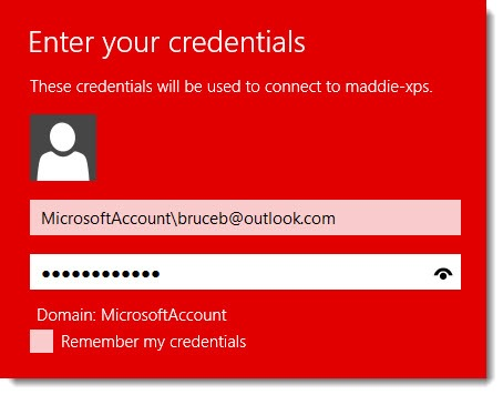 Remote Desktop - Windows 8 login credentials