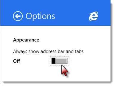 Internet Explorer 11 options - always show address bar and tabs