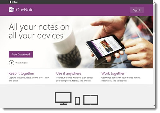 Updated look for OneNote.com