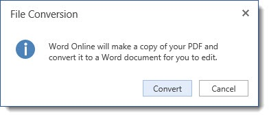 Word Online - convert PDFs to Word format