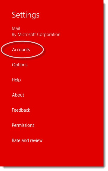 Windows 8 - mail account settings