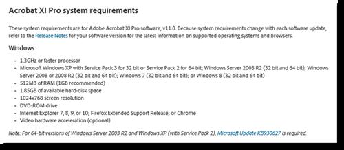 Adobe Acrobat XI Pro system requirements