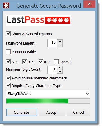 LastPass - generate secure password