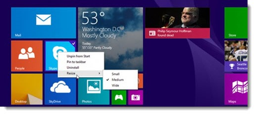 Windows 8.1 Update - right-click menu on Start screen tiles