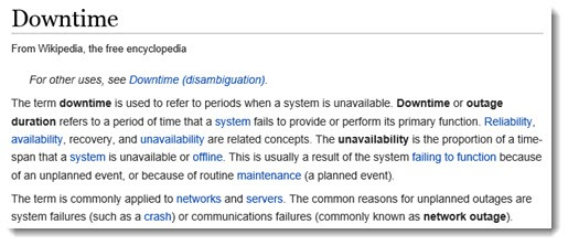 Downtime - definition