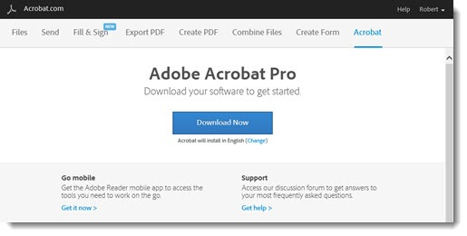 Download Adobe Acrobat subscription from cloud.acrobat.com