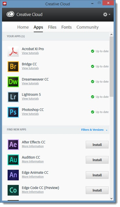 Adobe Creative Cloud app
