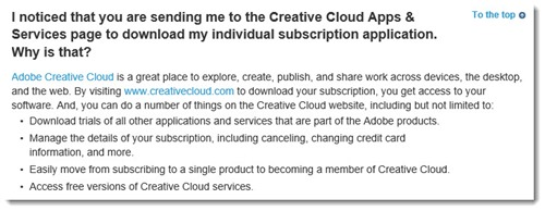Adobe Acrobat XI FAQ - explanation of Creative Cloud
