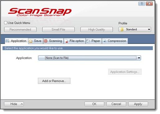 Fujitsu ScanSnap iX500 options