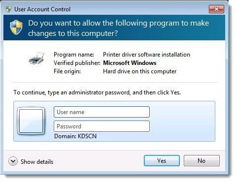 Standard user - prompt for local administrator password