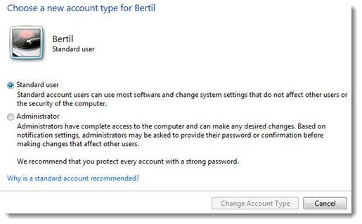User accounts - standard user vs. local administrator
