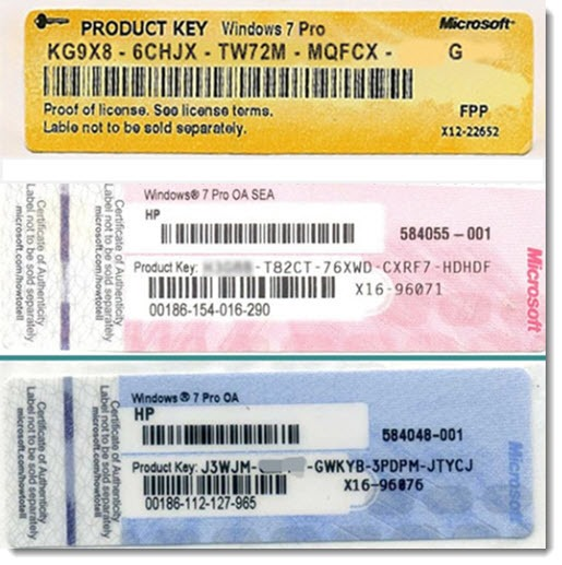 Windows 7 product key sticker - certificate of authenticity