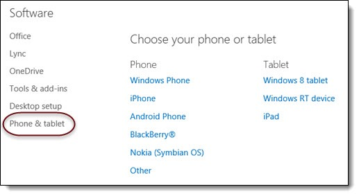 Office 365 - supported mobile devices