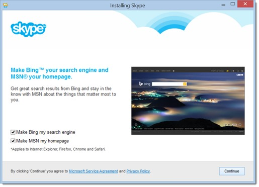 Skype - change home page & search engine