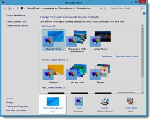 Windows 8 desktop background - personalization