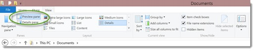 Explorer ribbon - turn off Preview Pane