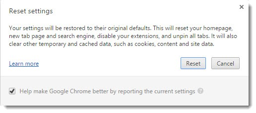Google Chrome Software Reset Tool - restore defaults