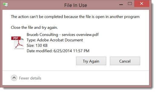Windows 8 - cannot delete PDF - file is open in another program