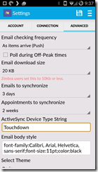 Android Office 365 - Touchdown options 1