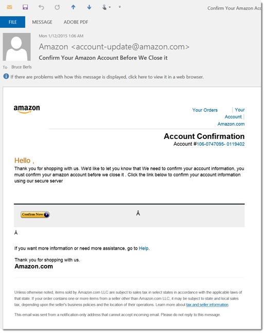 Amazon scam email