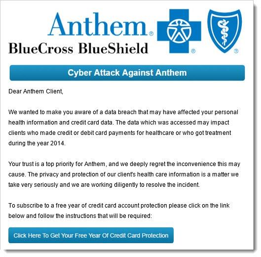 Anthem hack - sample phishing email