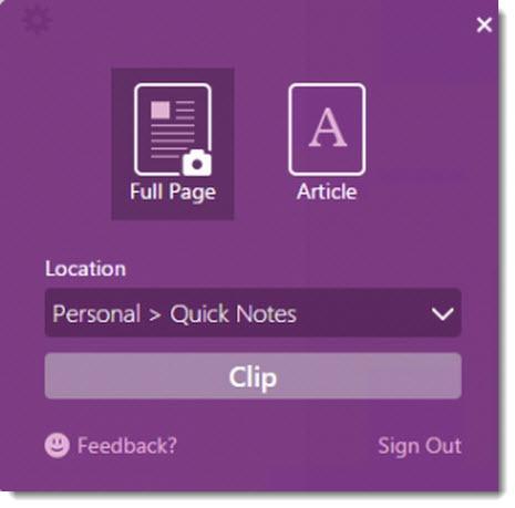 OneNote Clipper - Internet Explorer - clip full page or article