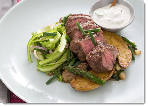 Blue Apron - flat iron steaks with ramps, fingerling potatoes and shaved asparagus salad