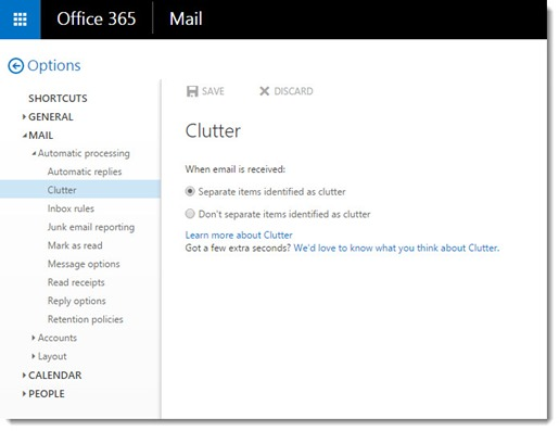 Office 365 - turn on Clutter in mail options