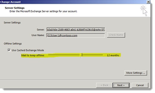 Outlook 2013 - cached Exchange mode sync slider