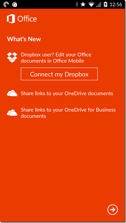 Office - Dropbox integration - Android