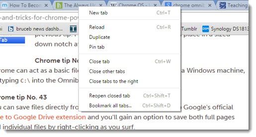 Google Chrome - right-click tabs for options