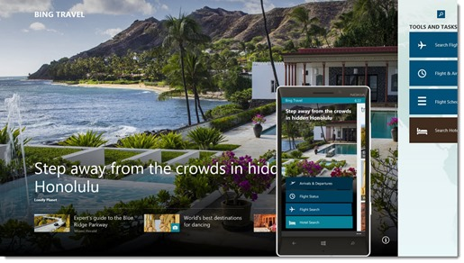 MSN Travel - opening screen on Windows and Windows Phone