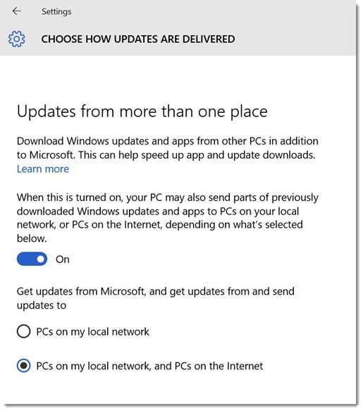 Windows 10 - turn off windows update delivery optimization