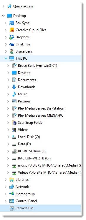 Windows 10 - File Explorer navigation pane