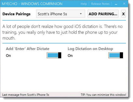 myEcho - dictation app for iPhone / Windows