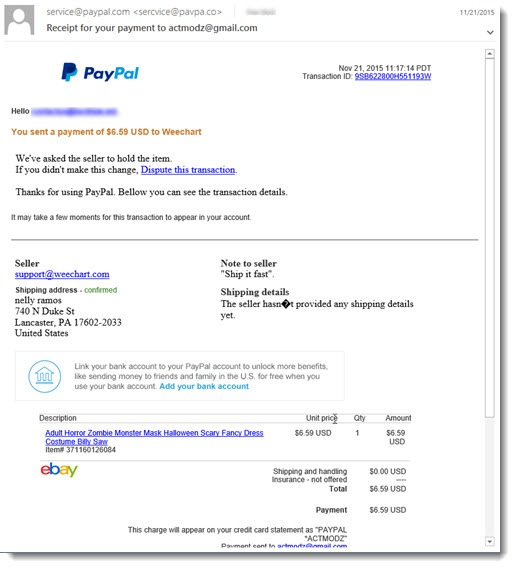 Phony Paypal message