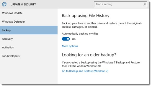 Turn on File History in Windows 10